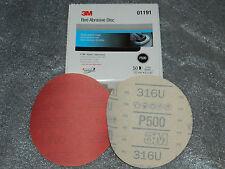"BRAND NEW BOX 3M 01191 RED ABRASIVE HOOKIT FILM 6"" DISC P500 GRIT 50 DISCS/BOX"