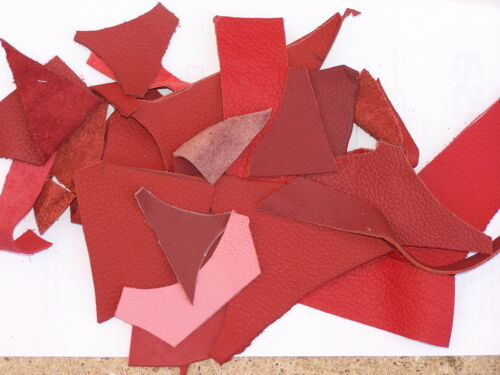 CRAFTS 100GRAMS RED// BURGUNDY  LEATHER PIECES// OFF CUTS HOBBIES