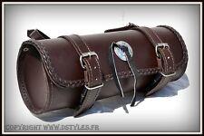 Sacoche de fourche / sac trousse à outils Cuir Rond Marron - moto trike harley