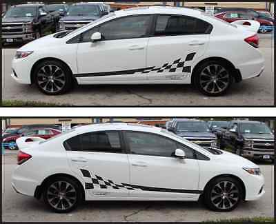 2012 and up Chevy Sonic Custom Vinyl Decal Graphics Checkered Flag Side Stripes