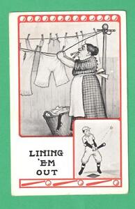 VINTAGE COMIC BASEBALL ART POSTCARD PLAYER LINING 'EM OUT/LADY CLOTHES-LINE