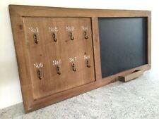 Vintage Wooden Blackboard Chalk Board With 8 Hooks & Chalk Ledge Shabby Style