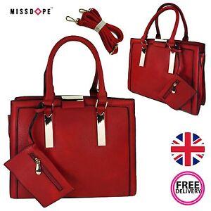 f12ef9783ddd Details about NEW RED TOTE STRUCTURED HANDBAG GOLD WOMENS SHOULDER FAUX  LEATHER ZIP VINTAGE UK