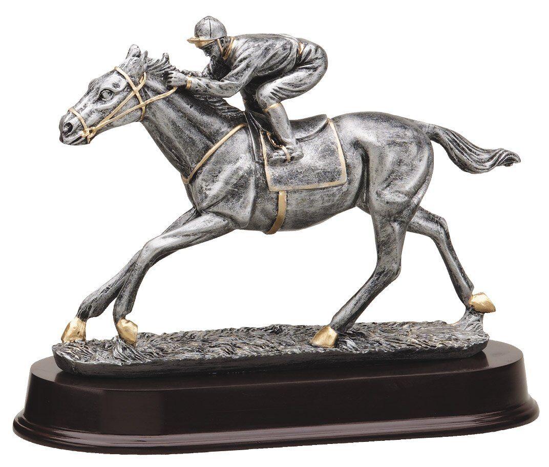 HORSE RACING RESIN TROPHY SCULPTURE AWARD  8 1 2  LONG. FEE ENGRAVING.