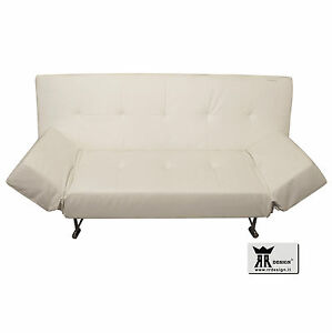 Dettagli su Divano 3 posti letto 1 piazza e mezza ecopelle posizione  poltrona relax bianco