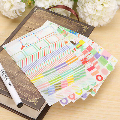 6 Sheet Simple Life Painting Diary Stickers Diary Book Album Calendar Decoration