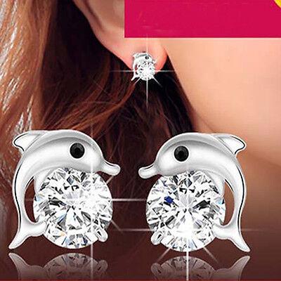 1Pair Lady Womens Dolphin Silver Plated Crystal Rhinestone Zircon Earrings Stud