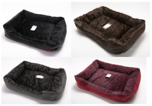 Luxury Dog Puppy Cat Kitten Pet Bed Cushion Basket Mat Fur Lined Leather Look