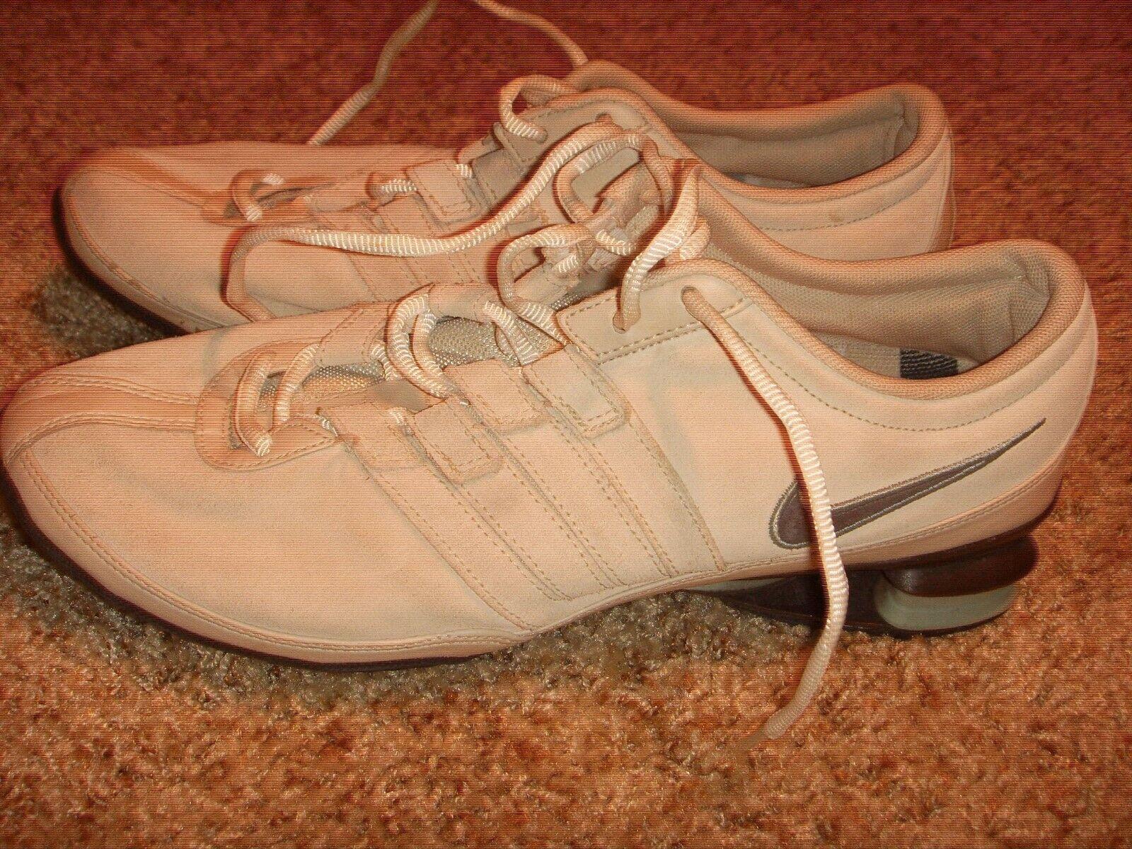 NIKE Premium Shox Running shoes Biege Suede 316572-221 Womens Size 8.5