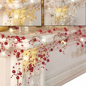UK-Cordless-Lighted-Silver-Berry-Beaded-Holiday-Christmas-Garland-3-Colors-NEW