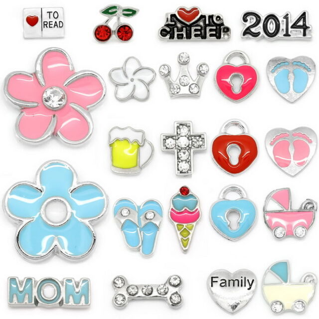 20PCs Floating Charms For Memory Locket Pendant Necklace Silver Tone M2225