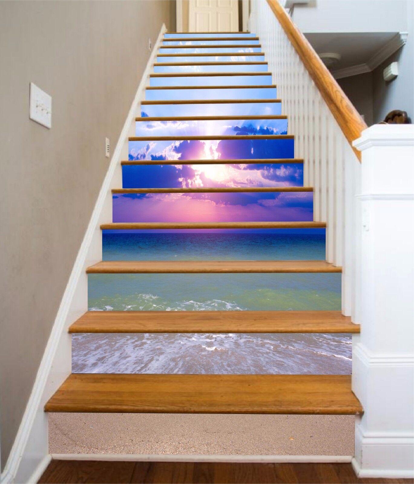 3D Sky beach sea 7 Stair Risers Decoration Photo Mural Vinyl Decal Wallpaper UK