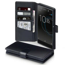 Luxury Real Leather Wallet Case for Sony Xperia XA1 Ultra - Black