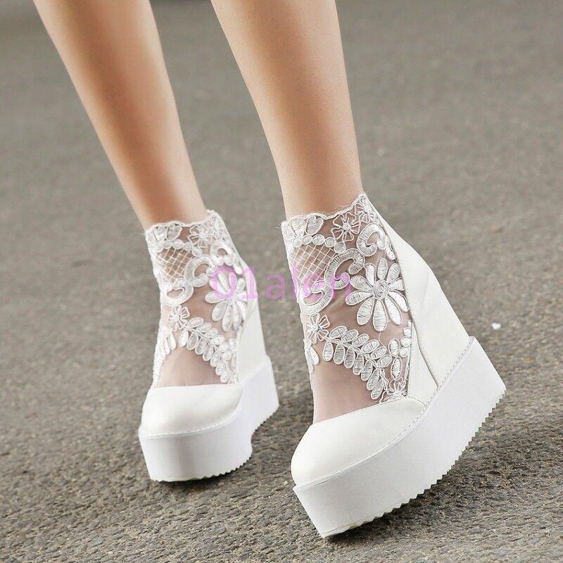 YI Womens Hidden platform Wedge high heels Lace Girl Boots Mesh Zip Trendy shoes