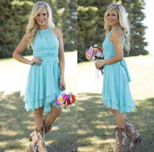 ecbf993f95 Image is loading Chiffon-Ruffled-Short-Country-Wedding-Party-Dress-Hi-