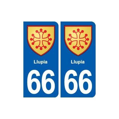 66 Llupia blason autocollant plaque stickers ville -  Angles : arrondis