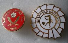 SHEFFIELD UNITED F.C. BLADES 2 x Football Lapel Pin Badges