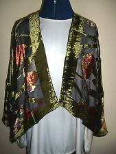 Velvet devore short jacket Olive green/pink/red/black floral Freesize  NEW