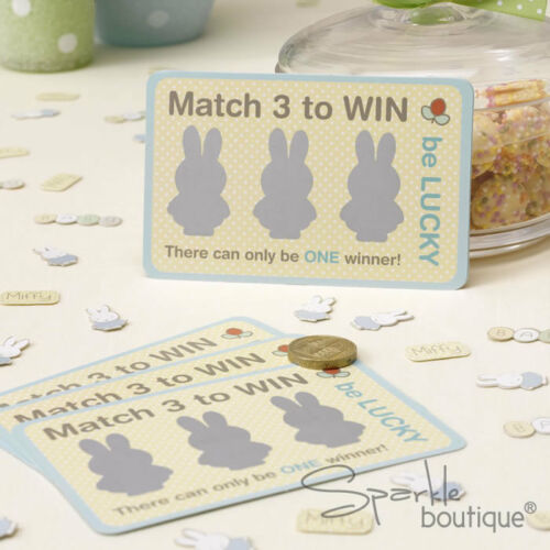 FULL MIFFY RANGE IN SHOP! Unisex Birthday Party Baby Shower SCRATCH CARD GAME