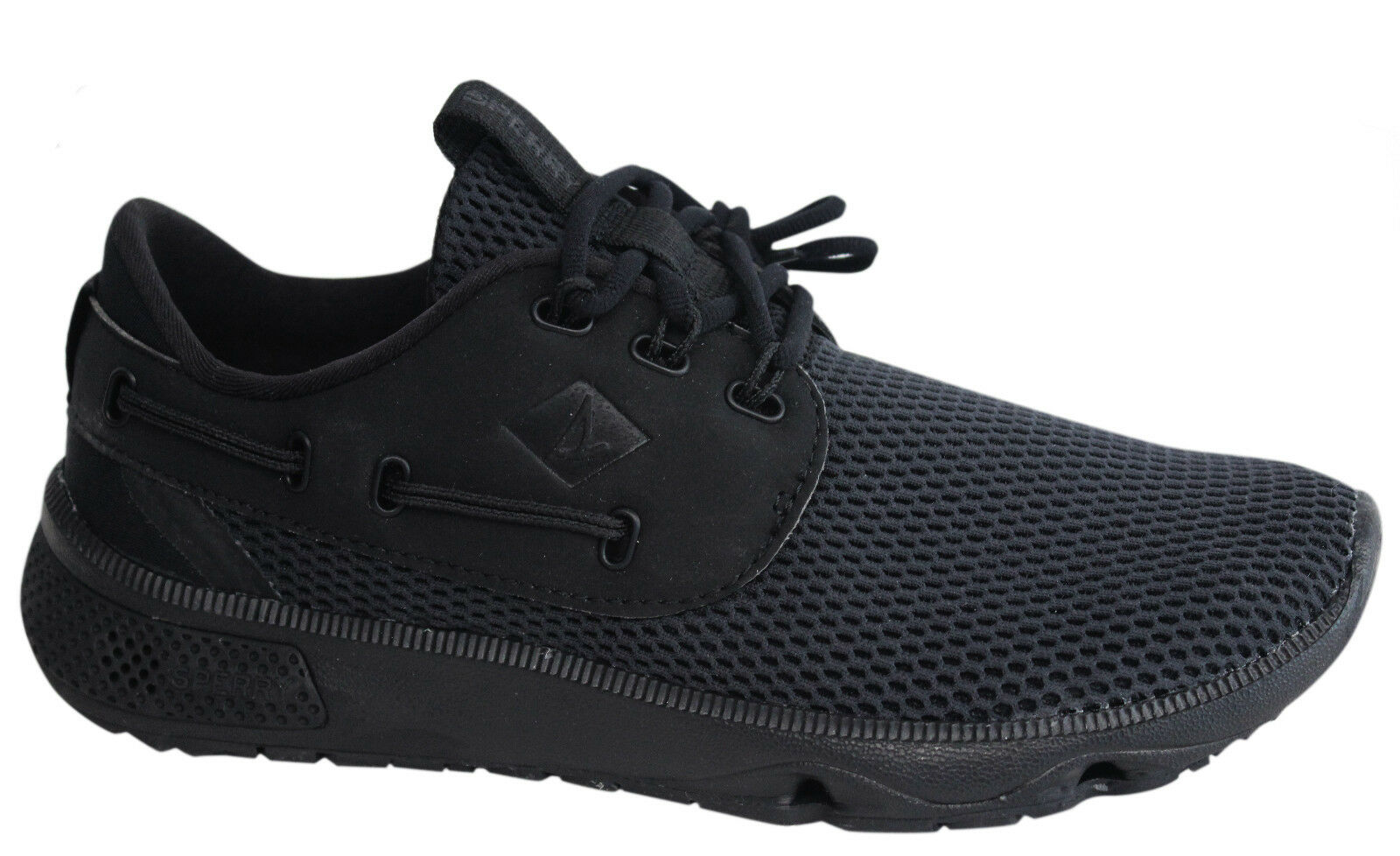 Sperry 7 Seas Lace Up Black Mesh Textile Mens Trainers STS15532 U16