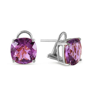 Details About 7 2 Ctw 14k Solid White Gold Amethyst Standard Earrings