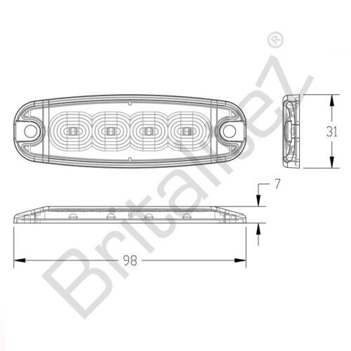 ECE R10 R65 4LED Amber Britalitez Ultra Thin 5W Grille//Direction Strobe Light