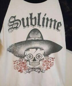 SUBLIME-Raglan-T-shirt-POR-VIDA-Ska-Punk-LBC-Long-Beach-Tee-Adult-Size-Med