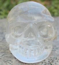 250g AAAA+++ Carved transparent natural white quartz crystal alien skull healing