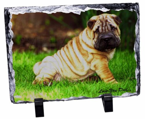Shar-Pei Dog /'Love You Dad/' Photo Slate Christmas Gift Ornament DAD-109SL