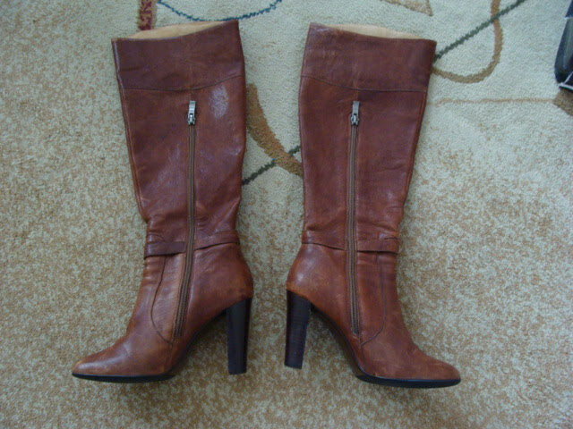 Charles David Women's Leather Boots Kalyn Cognac Size 6.5 Medium w/ Box