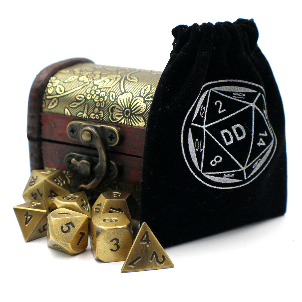 gold DnD Metal Dice Set with Storage Chest   Box for Roleplaying Games