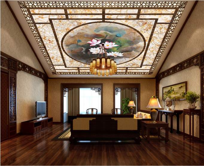 3D Lotus Paint 53 Ceiling WallPaper Murals Wall Print Decal AJ WALLPAPER US
