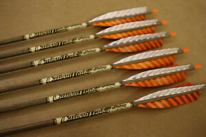 Details about 6 Victory Carbon Trad RIP 450  006 Traditional Arrows Custom  Fletched w Feathers