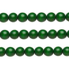 Wood Round Beads Dark Green 8mm 16 Inch Strand
