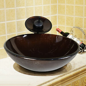 Waterfall Sink Bowl : ... Glass Bathroom Vessel Sink Bowl with Waterfall Faucet Combo US eBay