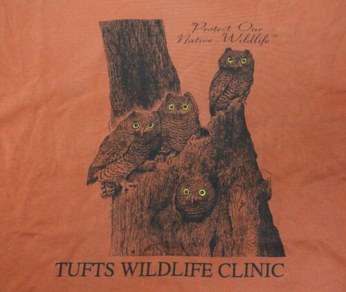 Rare XL Tufts Wildlife Clinic T Shirt Owls Protect