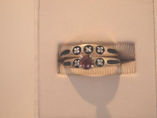 Women's 14K Yellow Gold Diamond & Garnet Wedding Set Ring Size 6 ~  4.6 gr