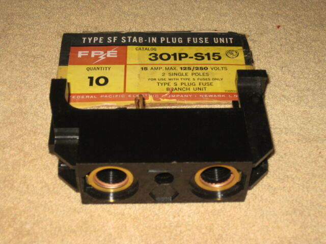 federal pacific fpe 301p-s15 301 s15 amp bus plug in fuse holder