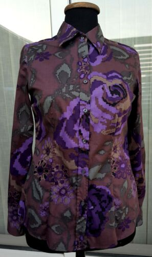 ETRO Button Down Shirt 42 US 8 ? M Purple Green Fl
