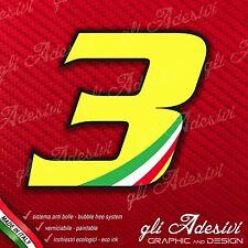 Adesivo Stickers NUMERO 3 moto auto cross gara Giallo & Tricolore 5 cm