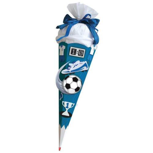 h Roth Schultüten-Bastelset Sound Soccer blau 68 cm eckig Rot -Spitze Krepp
