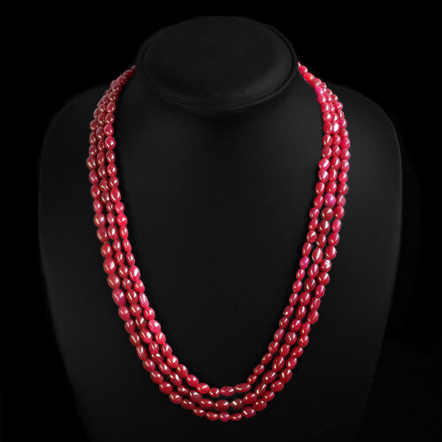 FANTASTIC VIBRANT 267.00 CTS NATURAL 3 LINE OVAL SHAPED RED RUBY NECKLACE STRAND