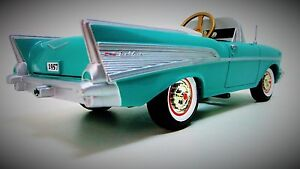 1957-Chevy-Pedal-Car-Vintage-BelAir-Custom-Metal-Collector-READ-Length-9-Inches