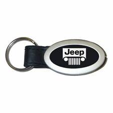 Jeep Black Chrome Metal with Genuine Leather Accent Key Chain Au-Tomotive Gold INC