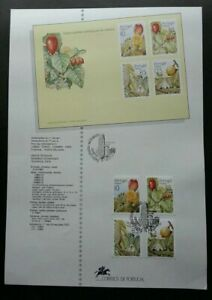 SJ-Portugal-Fruits-And-Sub-Tropical-Plants-Madeira-1992-stamp-on-info-sheet