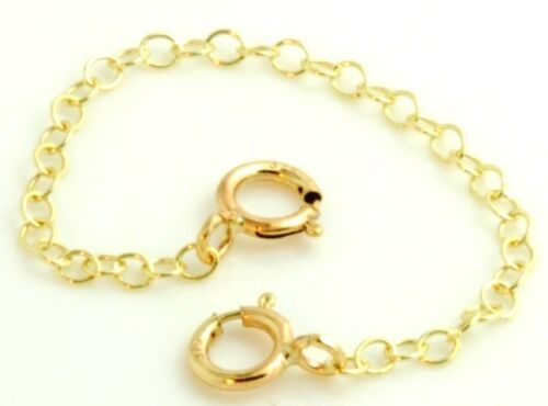 9ct Gold Extension Safety Necklace//Bracelet// Chain Extender /& Double Clasp
