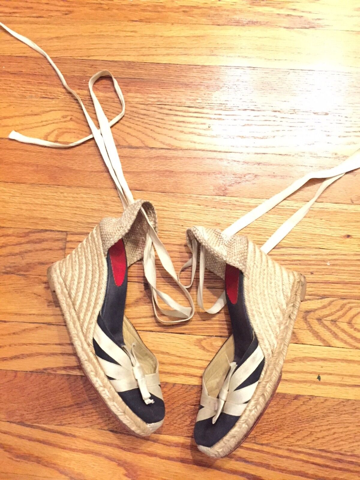 Christian Louboutin espadrilles size wedges grosgrain ribbon size espadrilles 37 1779b3