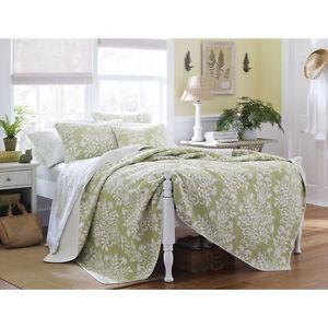 King Size Laura Ashley Sage Floral Cotton 3 Pc Reversible
