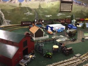 Midwestern-themed-LGB-Bachmann-G-scale-train-table-w-3-sets-of-trains-amp-more