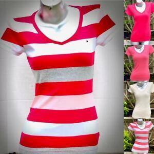 Tommy-Hilfiger-Women-039-s-short-sleeve-T-Shirts-Deep-V-amp-Crew-Neck-NWT